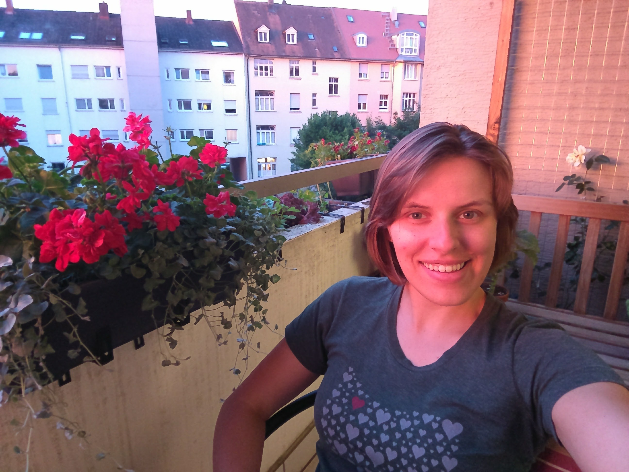 The author on her flower balcony